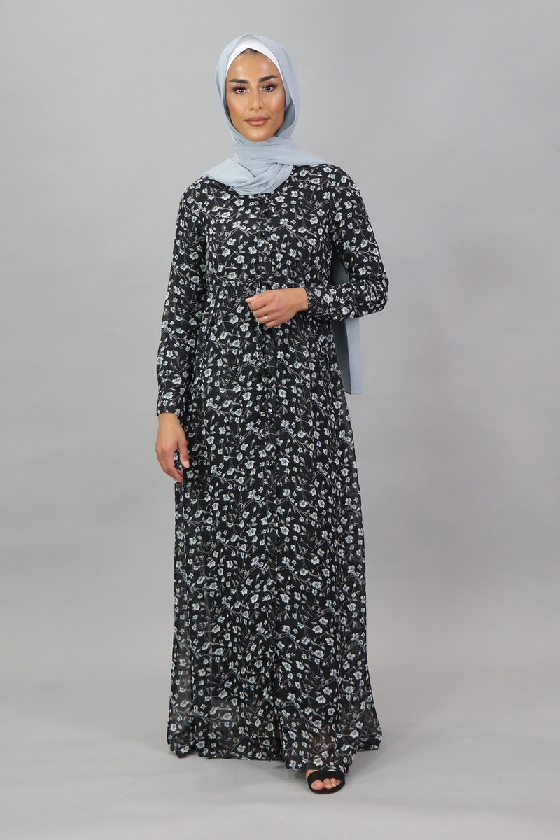 Black/Blue-Gray Floral Buttoned-Down Maxi Dress