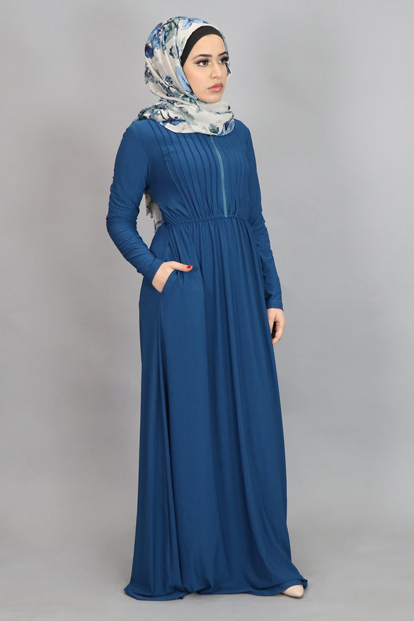 Electric Blue Pleated Spandex Maxi Dress (4554184884281)