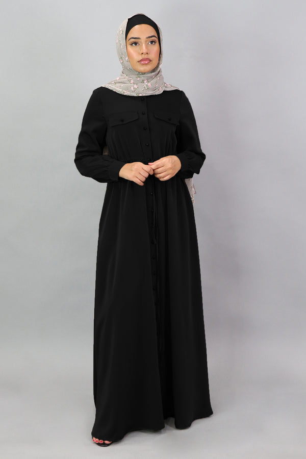Black Deluxe Soft Button Down Dress (5300552761512)