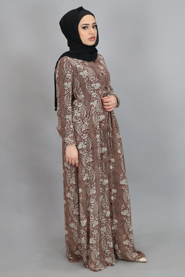 Copper Floral Buttoned-Down Maxi Dress (4547976560697)