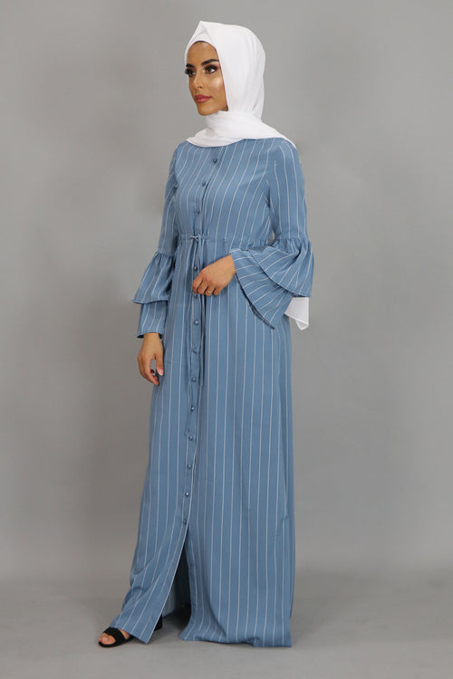 Sky Blue Striped Buttoned-Down Maxi Dress (2378871504953)