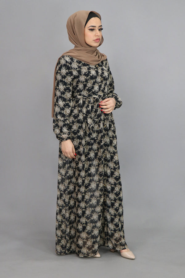 Black Floral Pocket Buttoned-Down Maxi Dress (4547991928889)