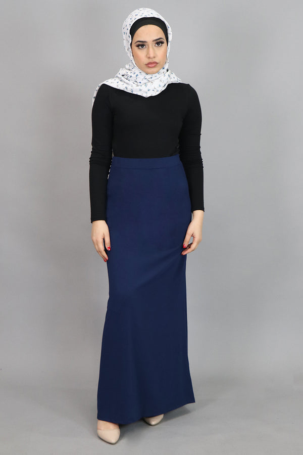 Navy Blue Spandex Maxi Skirt (4537003933753)