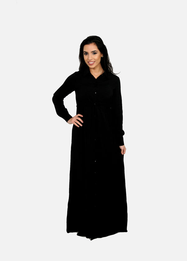 Black Buttoned-Down Maxi Dress (9604322830)