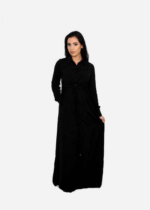Black Buttoned-Down Maxi Dress