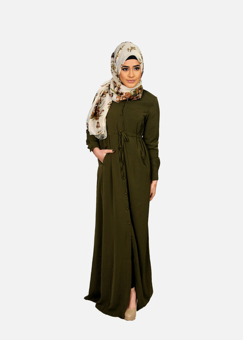 Olive Green Buttoned-Down Maxi Dress (9681197646)