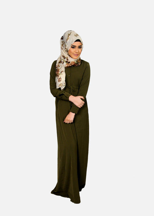 Olive Green Buttoned-Down Maxi Dress