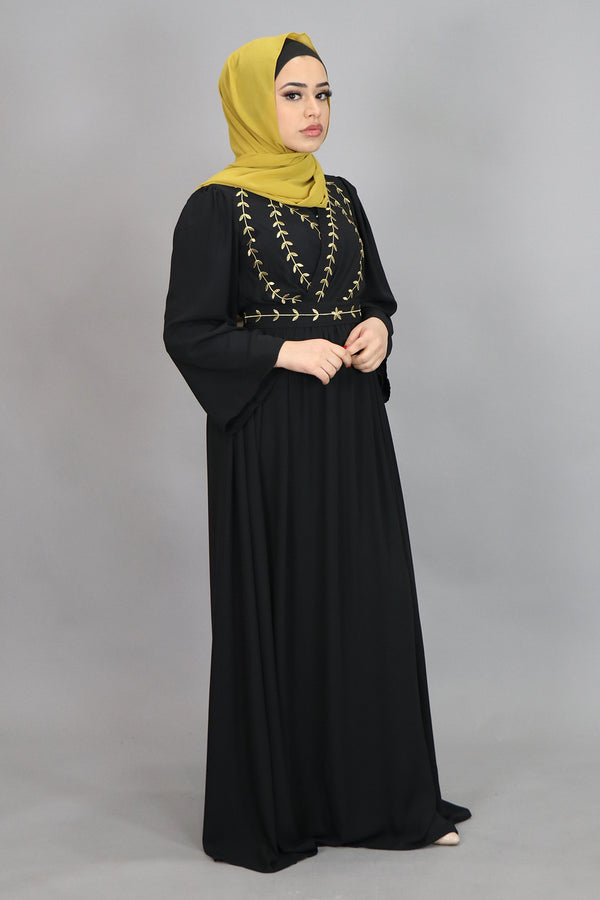 Black Embroidery Folds Maxi Dress (4347464122425)