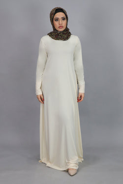 Beige Long Sleeve Spandex Maxi Dress (4534802776121)