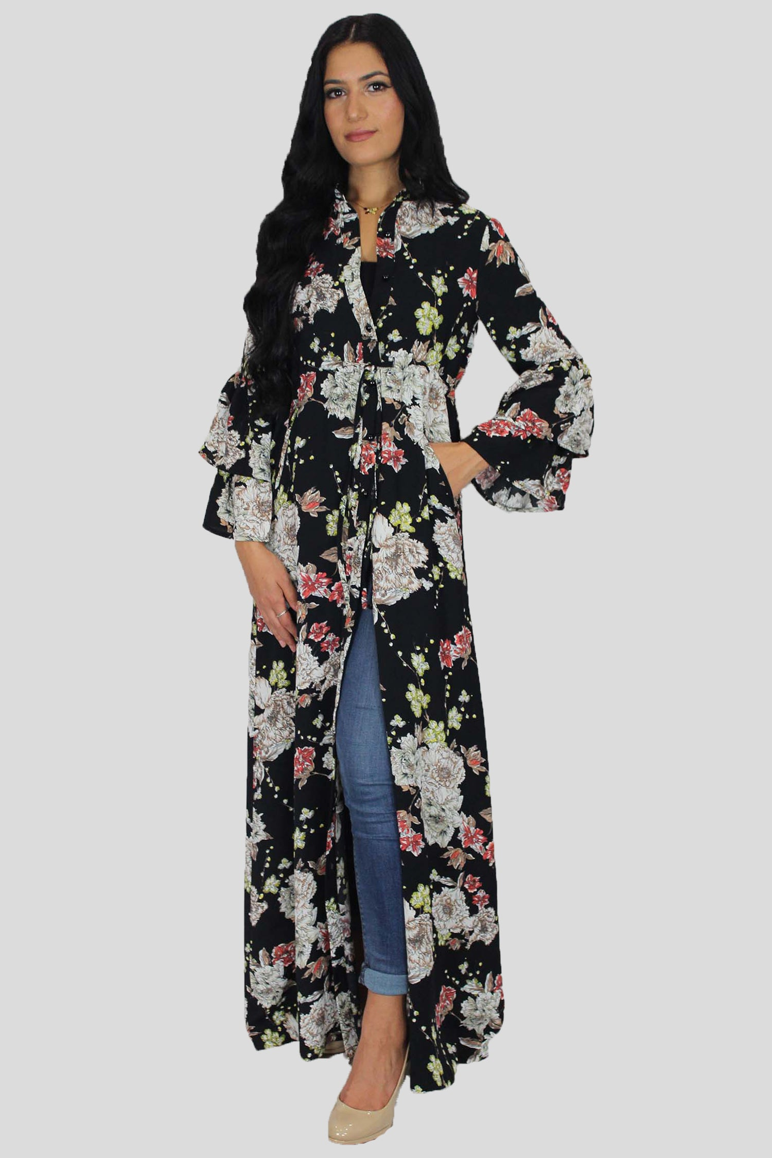 9c7f65e42f Floral Bell Sleeved Buttoned-Down Maxi Dress – Abayati Fashion