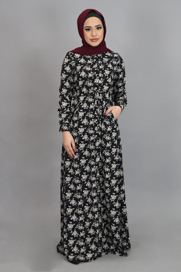 Black & Beige Floral Buttoned-Down Maxi Dress (4547975020601)