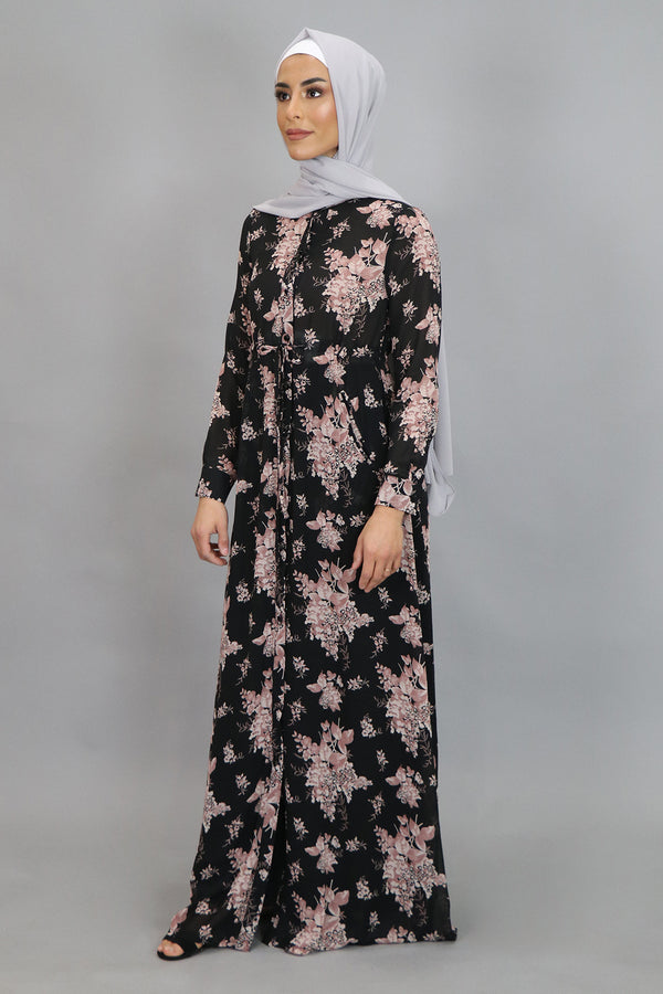 Black & Pink Floral Buttoned-Down Maxi Dress (4547973316665)