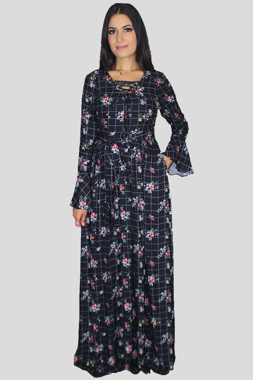 Black Bell Sleeves Floral Maxi Dress