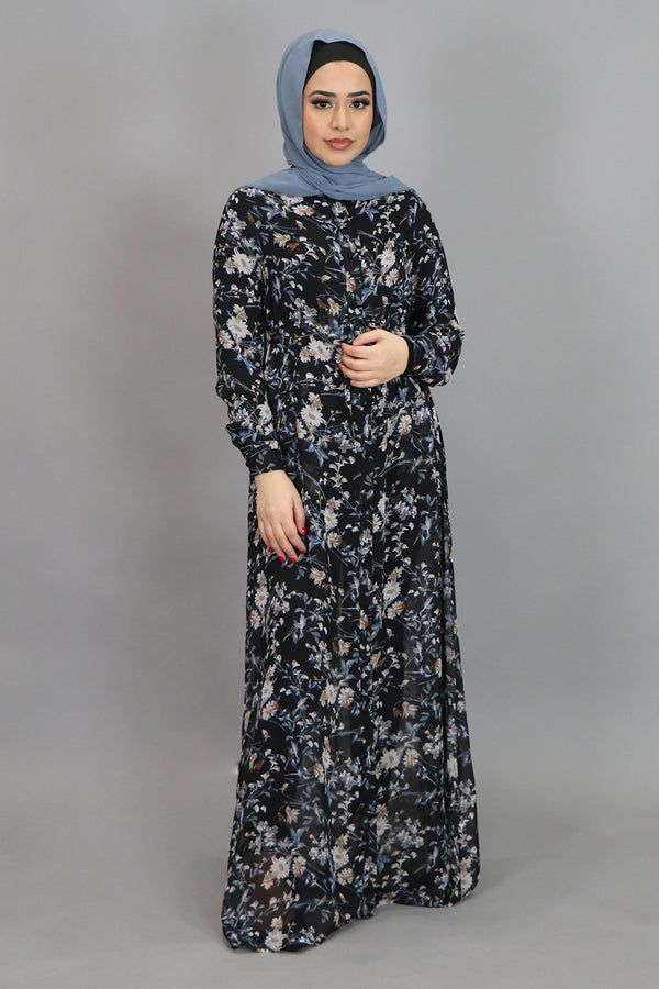 Black & Blue Gray Floral Buttoned-Down Maxi Dress (4547965648953)