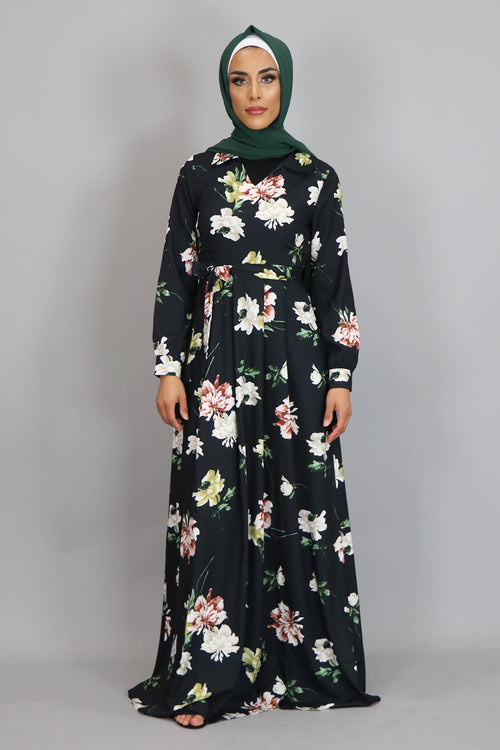 Black Floral Folds Maxi Dress