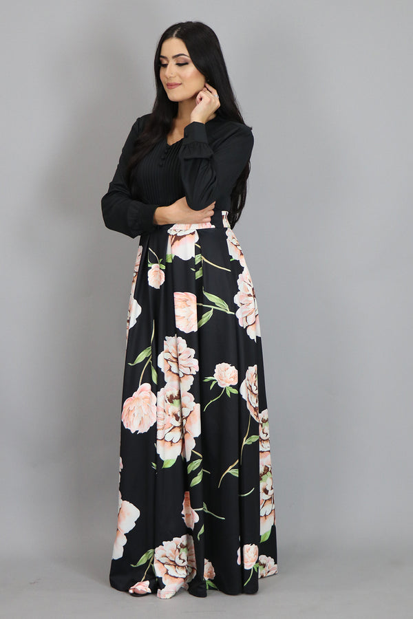 Black Floral Pleated Maxi Dress (4430707294265)