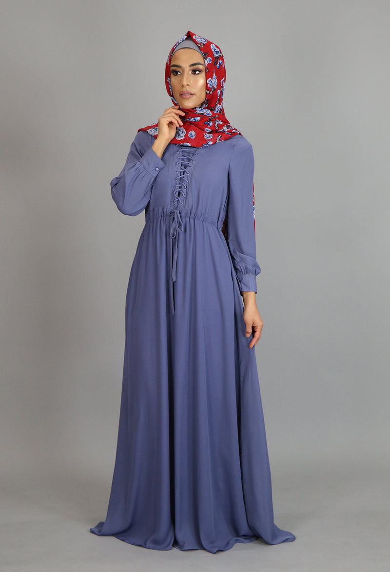 Blue Gray Lace-up Chiffon Maxi Dress (2173124804665)