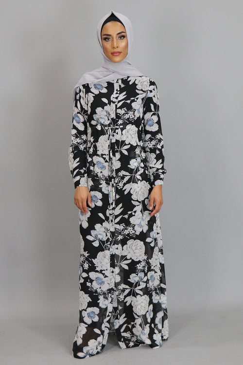 Black Floral Buttoned-Down Maxi Dress (2381426229305)