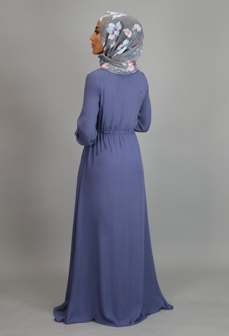Blue Gray Chiffon Button Maxi Dress (10757865294)