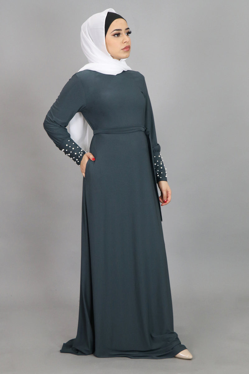 Blue Gray Pearl Sleeve Spandex Maxi Dress (4549670666297)
