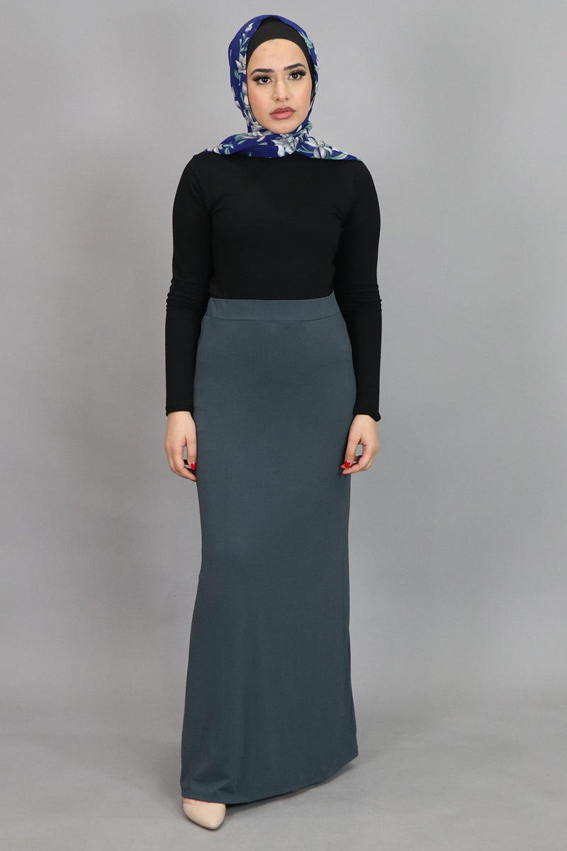 Blue Gray Spandex Maxi Skirt (4536990826553)