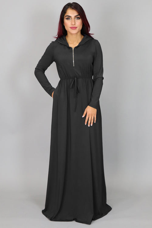 Black Alexa Zipper Maxi Dress