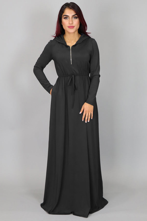 Black Alexa Zipper Maxi Dress (2097527914553)