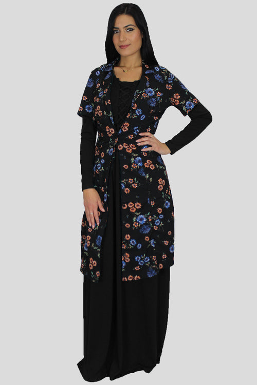 Black Floral Cardigan Buttoned Down Dress
