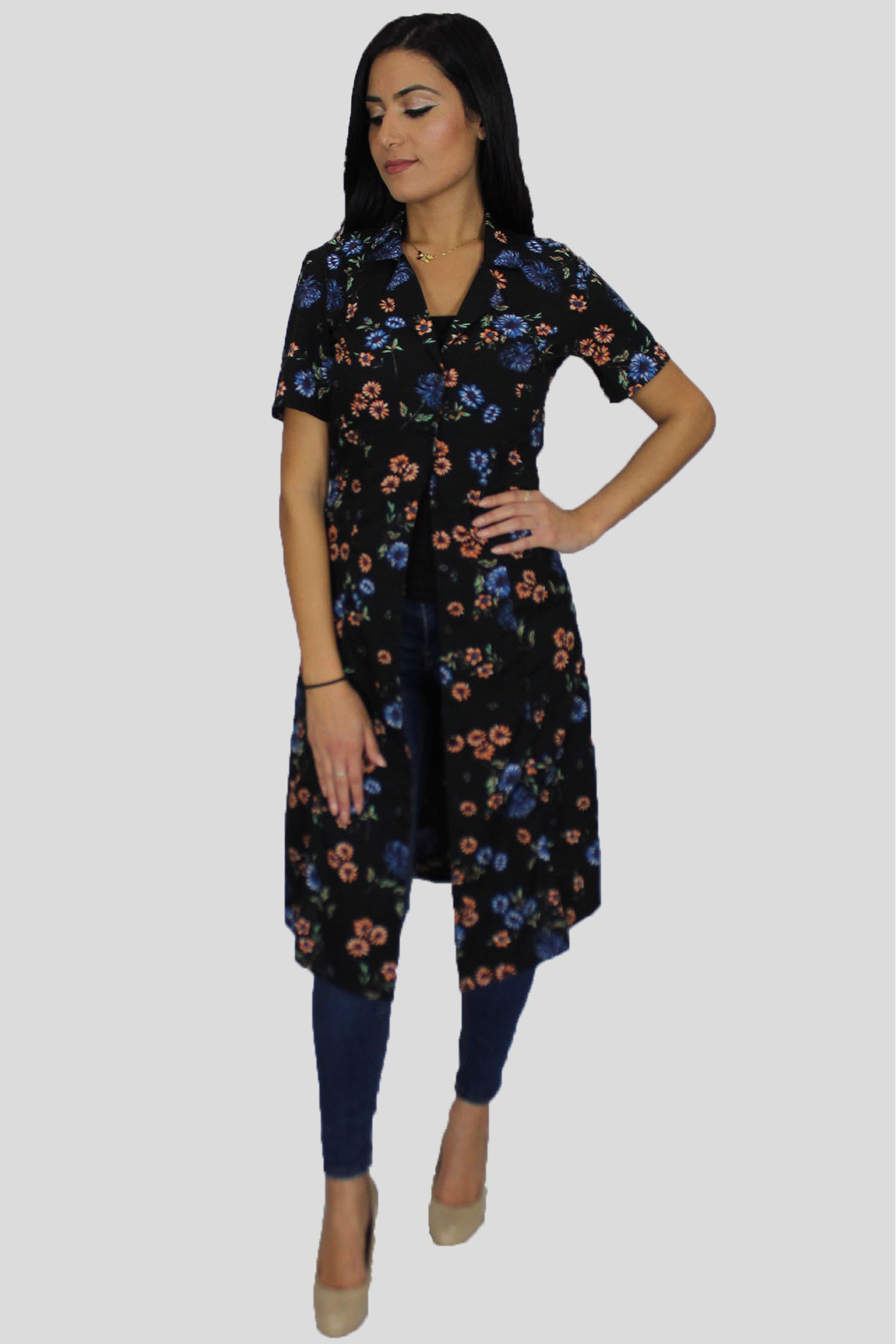 Black Floral Cardigan Buttoned Down Dress (1841031807033)