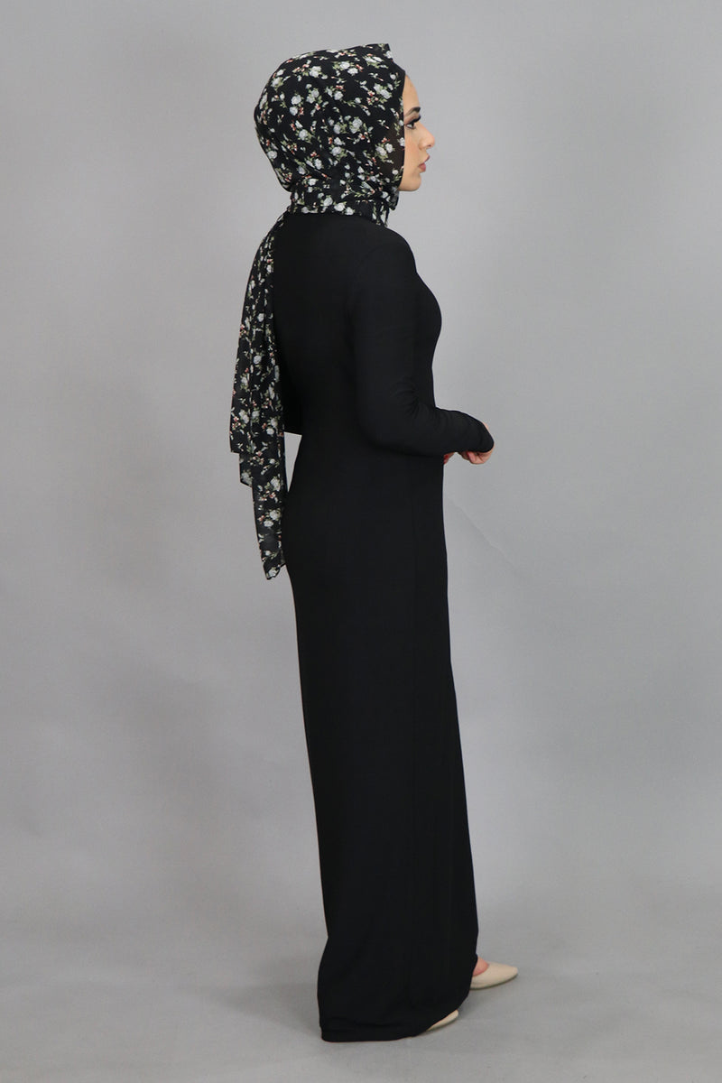 Black Plain Fitted Spandex Maxi Dress (4516944216121)