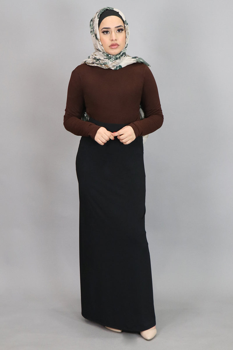Dark Brown Long Sleeve Top (4537360744505)
