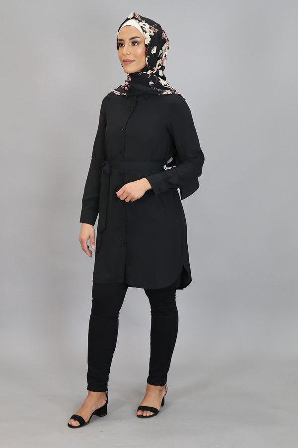 Black Plain Long Blouse (4545277624377)