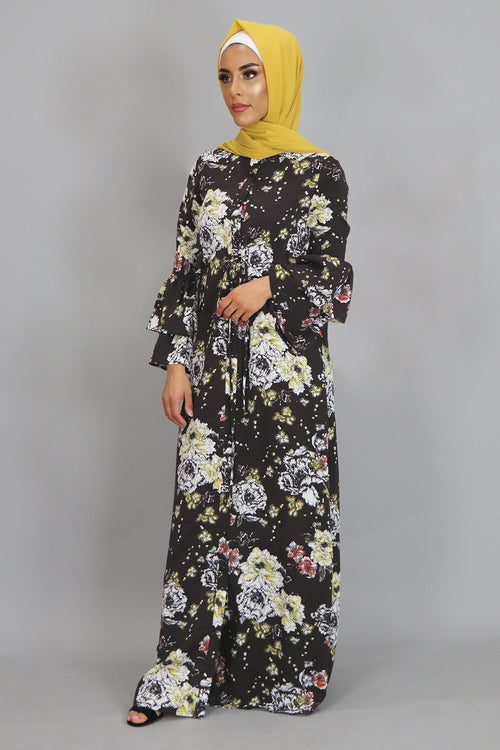 Brown/Mustard Floral Buttoned-Down Maxi Dress