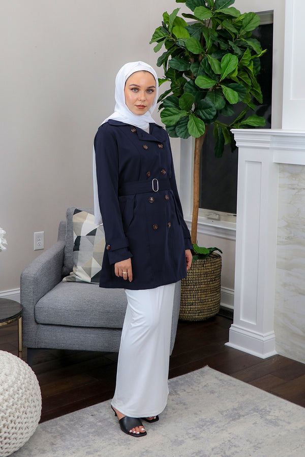 Deluxe Soft Trench Coat - Navy Blue