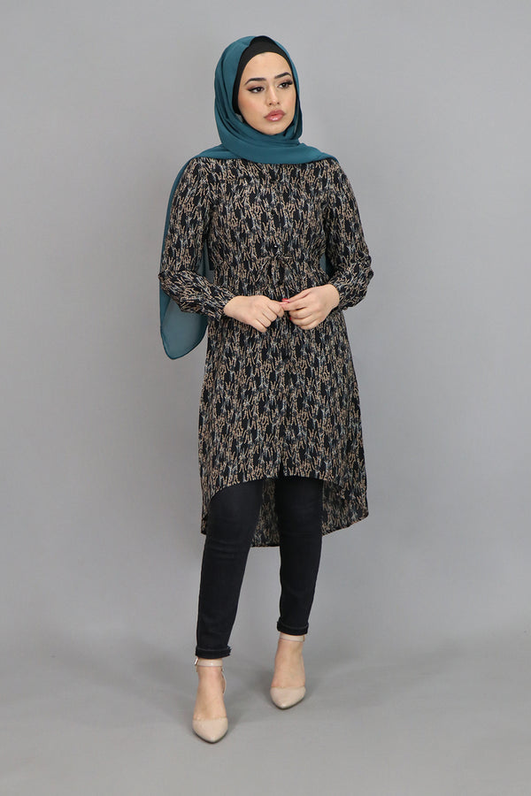 Black & Mustard Buttoned-Down Tunic (4547861250105)