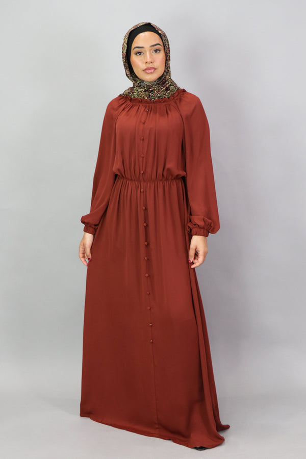 Burnt Orange Deluxe Soft Chiffon Button Front Dress (5300967932072)