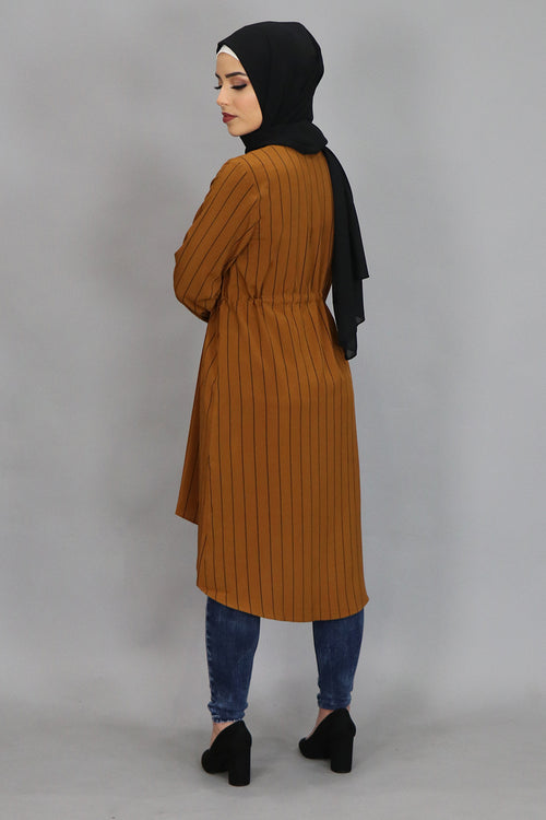 Burnt Orange Striped Buttoned-Down Tunic Dress (4364291604537)