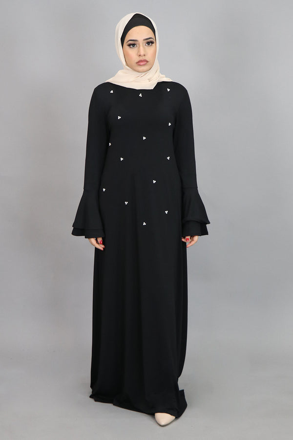 Black Double-Bell Pearls Spandex Maxi Dress (4516931797049)