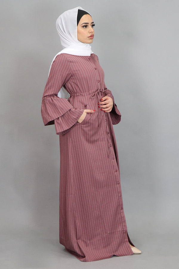 Rose Pink Striped Bell Sleeve Buttoned-Down Maxi Dress (4547934945337)