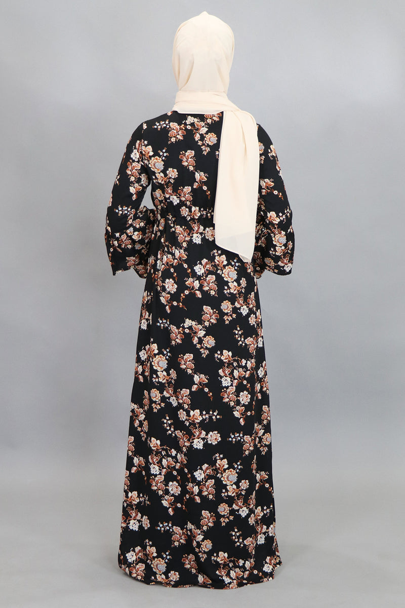 Black & Burnt Orange Double-Bell Buttoned-Down Maxi Dress (4516972199993)