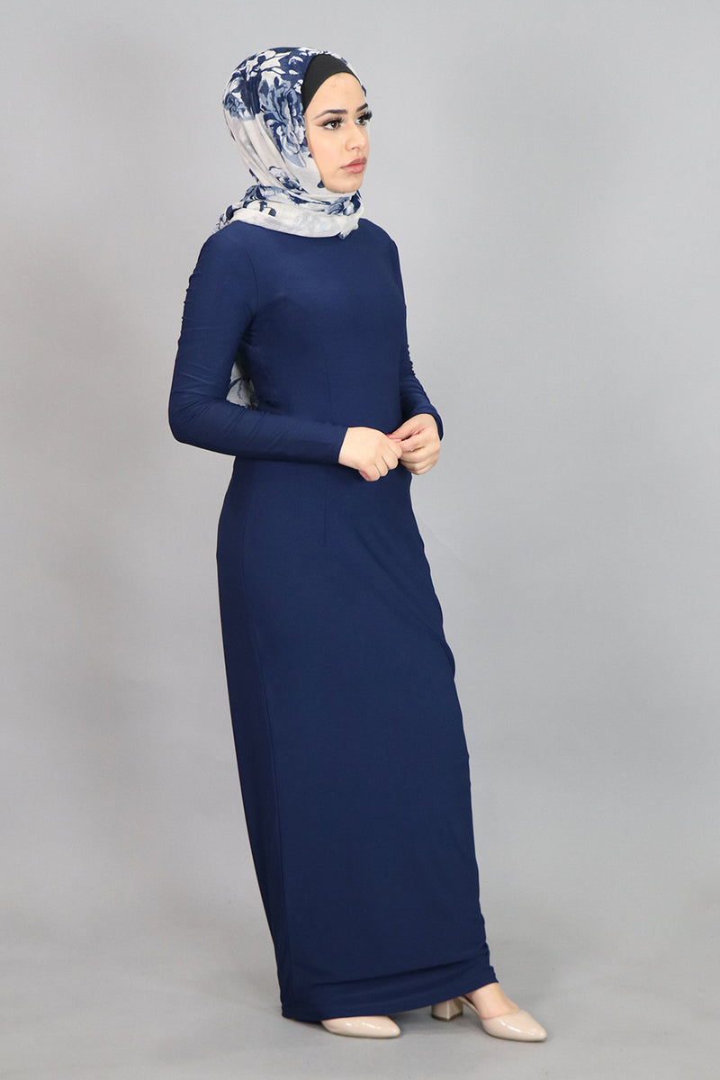 Navy Blue Plain Fitted Spandex Maxi Dress (4540244754489)