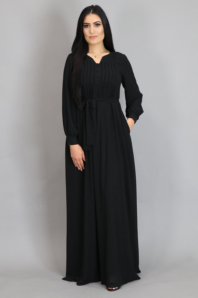 Black Pleated Chiffon Abaya (2452646887481)