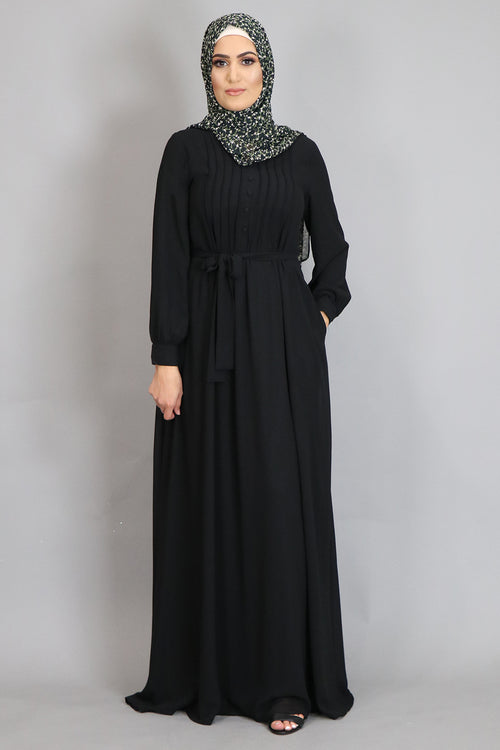 Black Pleated Chiffon Abaya
