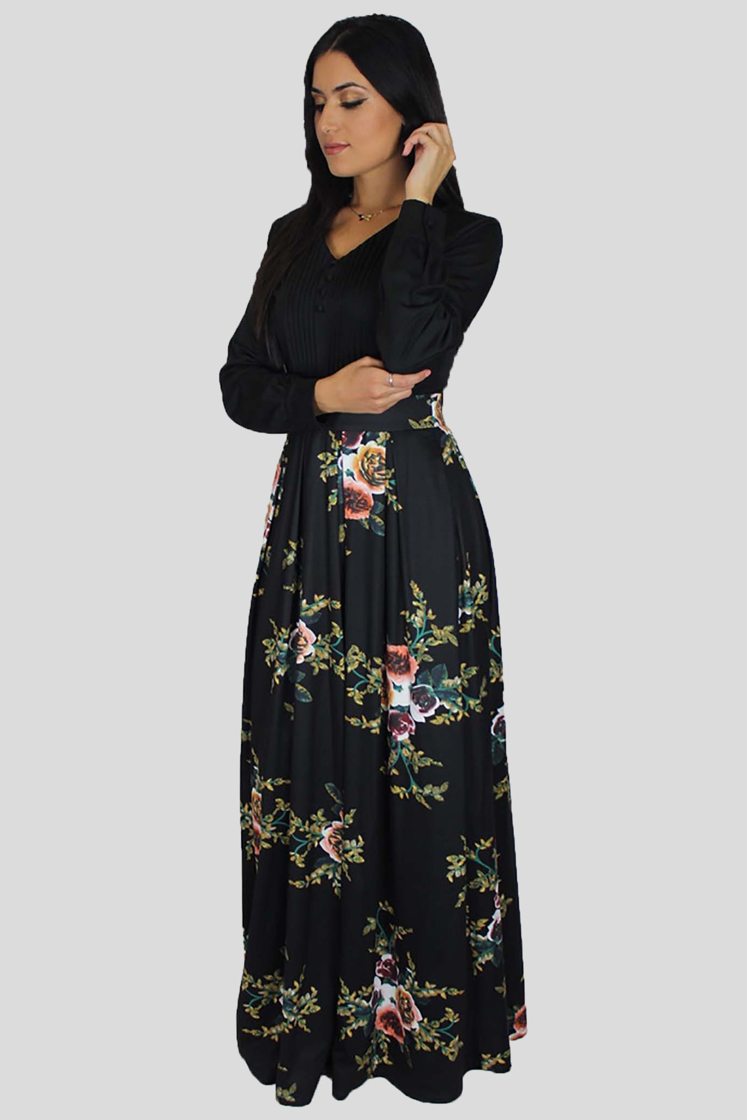 Black Pleated Floral Maxi Dress (1376540033081)