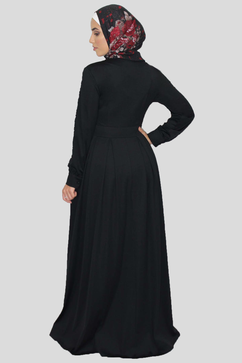 Plain Black Pleated Maxi Dress (1611165728825)