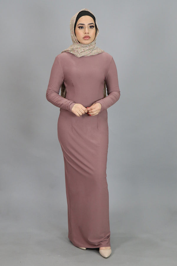 Nude Pink Plain Fitted Spandex Maxi Dress (4540257140793)