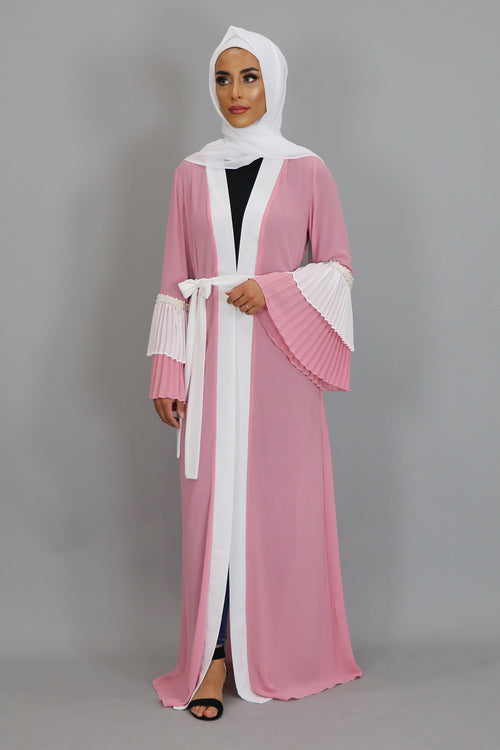 Light Pink Chiffon Double Bell Cardigan Dress (2381743652921)