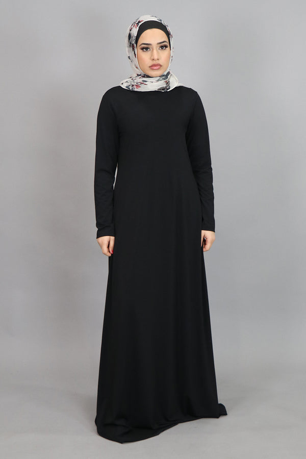 Black Long Sleeve Spandex Maxi Dress (4516937793593)