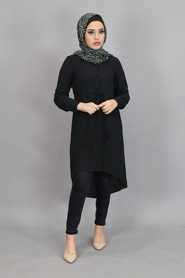 Black Chiffon Buttoned-Down Tunic (4537306611769)
