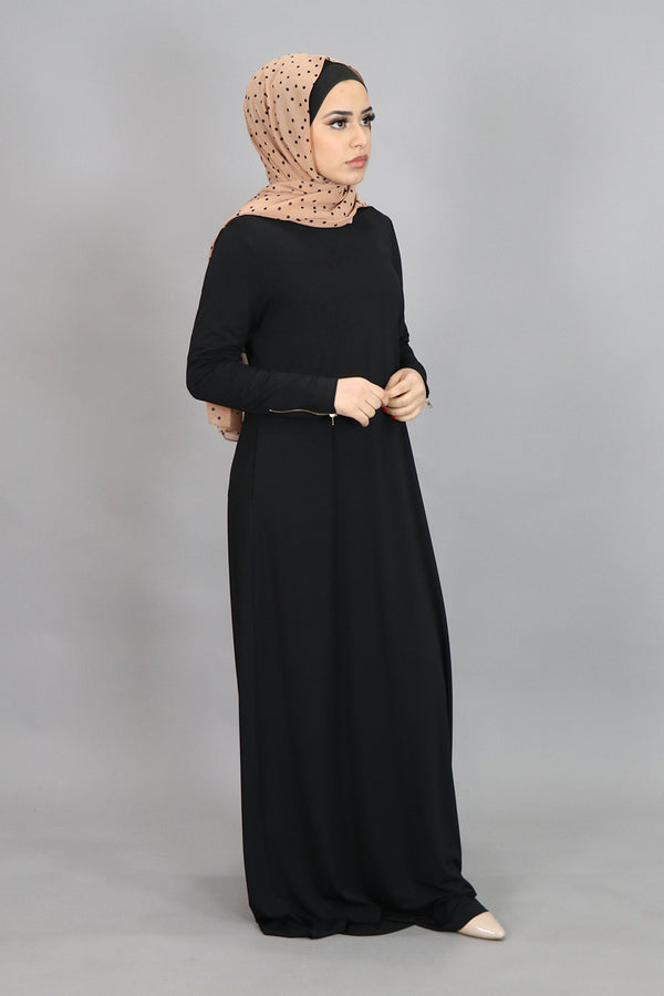 Black Spandex Hooded Maxi Dress (4518161317945)